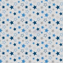 Tecido Tricoline Estampada Estrelas Cor 12 (Cinza Com Marinho) 180602-12