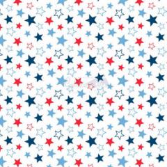 Tecido Tricoline Estampada Estrelas Cor 14 (Cinza Com Rose) 180602-14