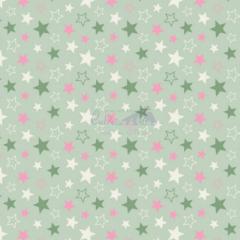 Tecido Tricoline Estampada Estrelas Cor 15 (Verde Com Rosa) 180602-15