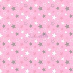 Tecido Tricoline Estampada Estrelas Cor 16 (Rosa Com Cinza) 180602-16