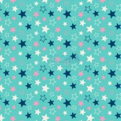 Tecido Tricoline Estampada Estrelas Cor 17 (Tiffany Com Marinho) 180602-17
