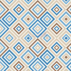 Tecido Tricoline Estampada Geométrico Cor 01 (Bege Com Azul) 180658-01