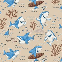 Tecido Tricoline Estampada Shark Cor 01 (Bege Com Azul) 180653-01