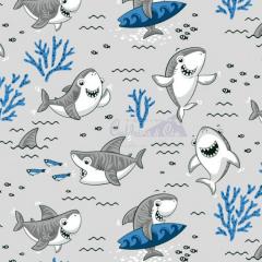 Tecido Tricoline Estampada Shark Cor 02 (Cinza Com Marinho) 180653-02