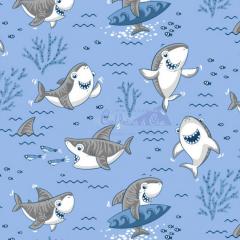 Tecido Tricoline Estampada Shark Cor 03 (Azul Com Cinza) 180653-03