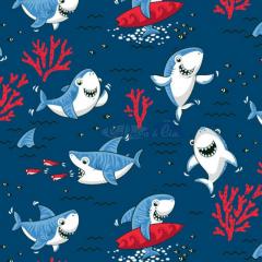 Tecido Tricoline Estampada Shark Cor 04 (Vermelho Com Marinho) 180653-04