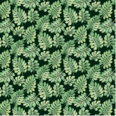 Tecido Tricoline Estampado Costela De Adão Cor 01 (Verde Com Preto)
