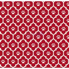 Tecido Tricoline Estampado Patinhas Cor - 05 (Vermelho)