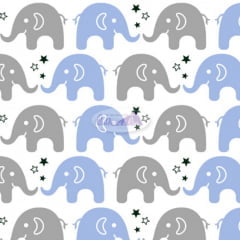 Tecido Tricoline Estampado 100% Algodão  Elefante 180604-01