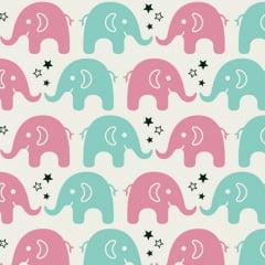 Tecido Tricoline Estampado 100% Algodão  Elefante 180604-05