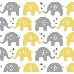 Tecido Tricoline Estampado 100% Algodão  Elefante 180604-06