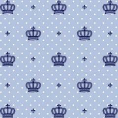 Tricoline Estampado Coroas Fundo Azul 1806-04