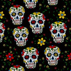 Tecido Tricoline Caveira Mexicana 6387-04