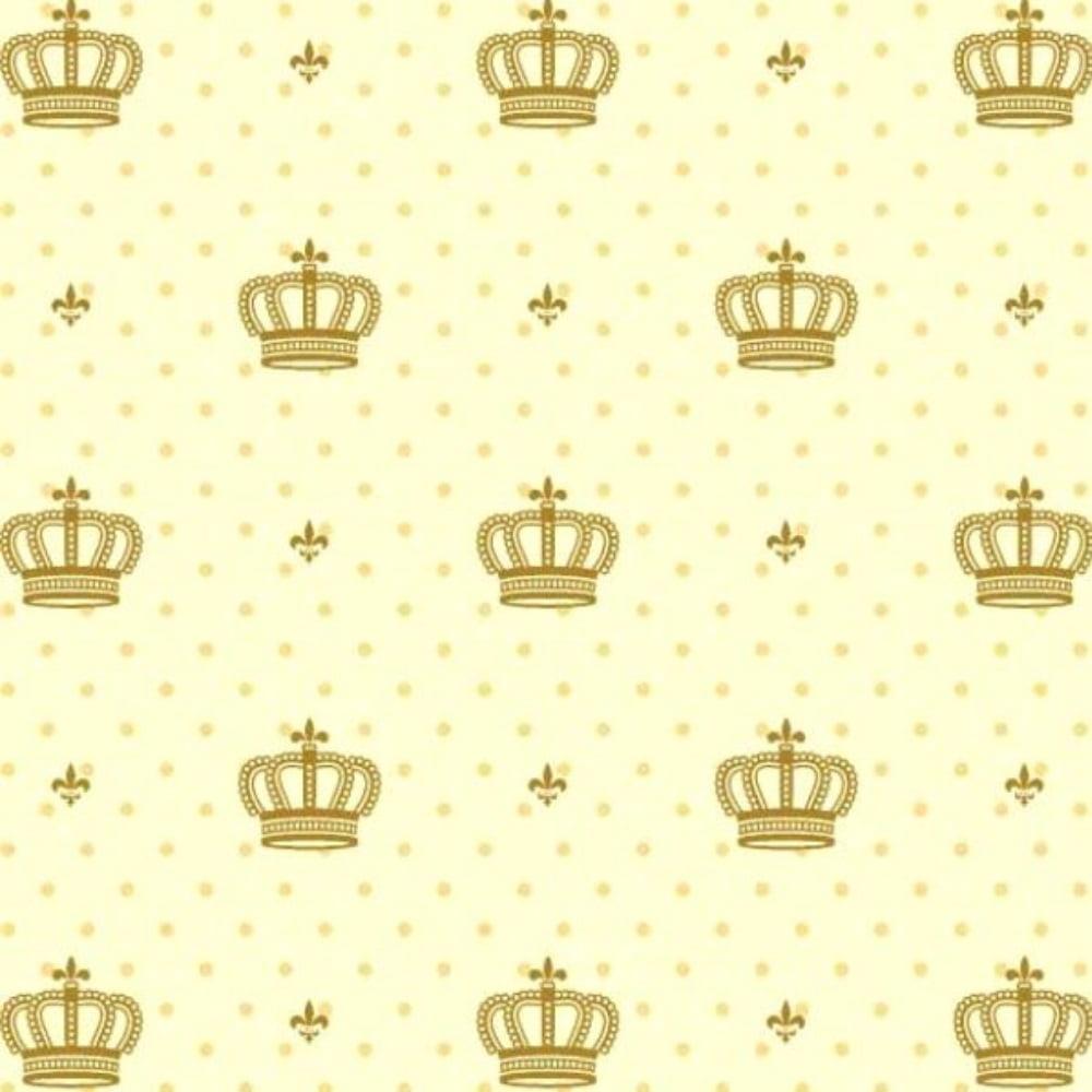 Tecido Tricoline Estampado 100% Algodão Coroas Fundo Amarelo 1806-03