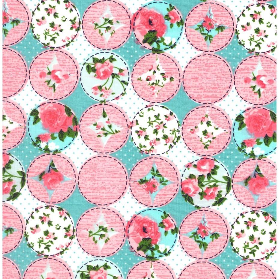 Tecido Tricoline Estampado Floral (rosa)