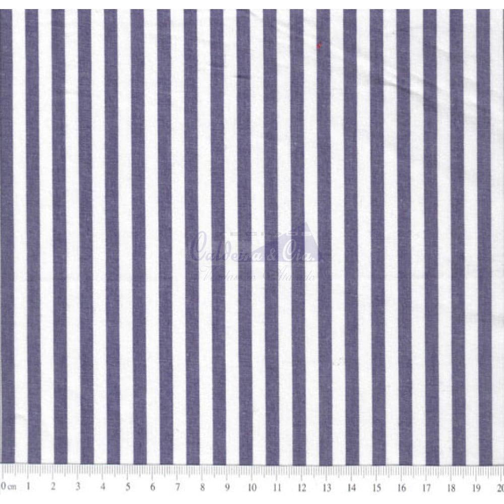 Tecido Tricoline Fio Tinto Listrado L.229 Cor - 1021 (Marinho)